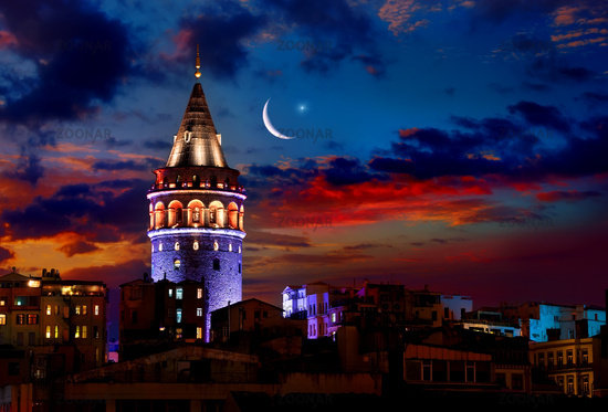 Galata Tower at night