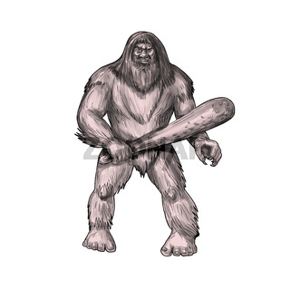Bigfoot Holding Club Standing Tattoo