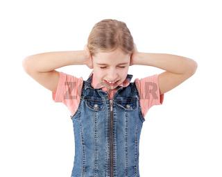 girl closing her ears