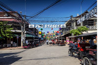 pub street tourist area of siem reap city in cambodia