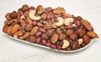 mixed nuts on a plate