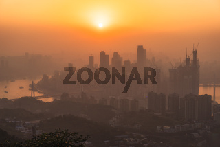 chongqing city skyline at sunset
