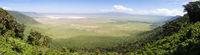 Panoramiv view of volcanic crater of Ngorongoro, Tanzania, Africa.