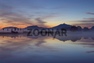 Landscape at Dawn with Wachsenburg Castle Reflecting in Lake