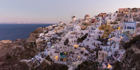 Oia village at sunrise, Santorini island, Greece.
