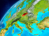 Space view of Slovakia in red