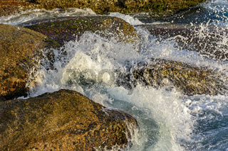 Seawater splashing over mossy rocks
