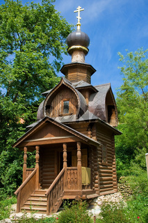 Orthodox wooden chapel near St. Sava's Spring
