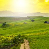 Sicilian landscape at sunrise