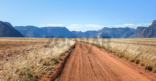 Straight desert dirt road track passes grassland towards mountains.