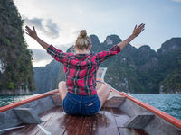 Wonder travel woman exploring wild nature of Khao Sok National Park