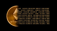 Ether or ethereum coin with bits and black background