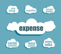 word expense. Business concept . Design with abstract speech bubble set
