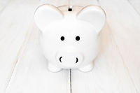 Front view of white piggy bank