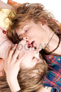 Portrait of kissing young beauty couple 3