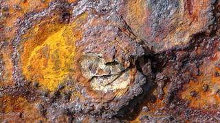 Rost auf einer eisernen Oberfläche, Nahaufnahme