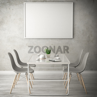 living white room 3d illustration