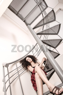 Red wine on the stairs