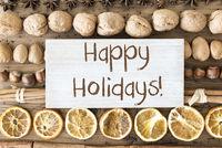Christmas Food Flat Lay, Text Happy Holidays