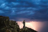 Trekking during storm