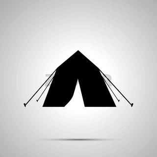 Tourist tent silhouette, simple black icon