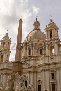 Sant'Agnese in Agone Church and Egyptian Obelisk in Rome Italy