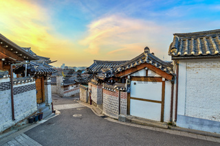 Bukchon Hanok Village and Seoul city skyline when sunrise with Seoul Tower, Seoul, South Korea