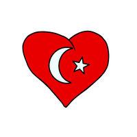 Turkey isolated heart flag on white background