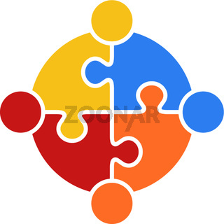 Circle Puzzle of Teamwork Logo Vector