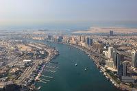 Dubai The Creek Mündung Delta Luftaufnahme Luftbild