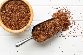 Red quinoa seeds.