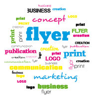 a tag word cloud for flyer and logo design