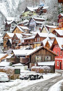 Wooden houses in Hallstatt, austrian alpine village by Salzburg, Austria