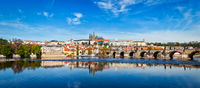 Charles bridge over Vltava river and Gradchany Prague Castle a