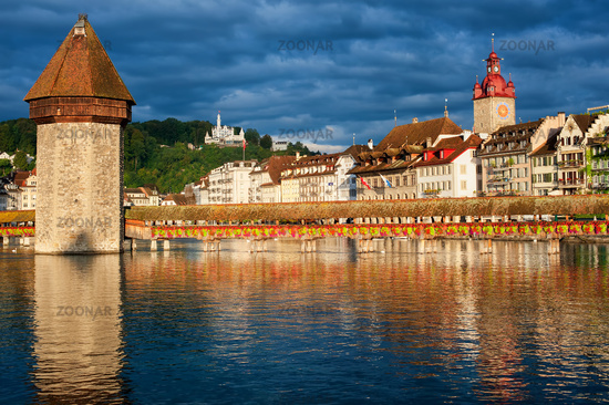 Lucerne, Switzerland, view over the old town with Chapel Bridge, Water Tower, Gutsch palace