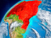 Space view of Brazil in red