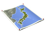 Japan on unfolded map sheet.