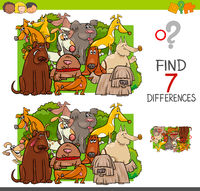 find differences with dogs animal characters