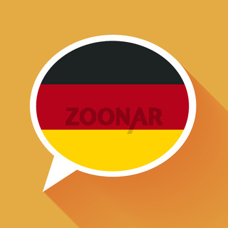 White speech bubble with Germany flag on orange background. German language conceptual illustration.