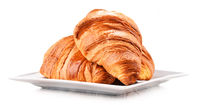 Composition with croissants isolated on white background