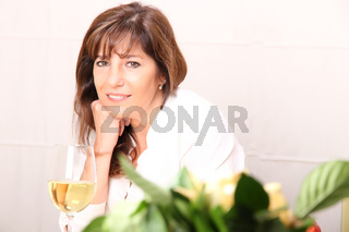 Woman with white wine