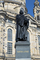 Dresden. Martin Luther monument in front of Frauenkirche cathedral.