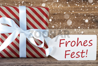 Present With Snowflakes, Text Frohes Fest Means Merry Christmas
