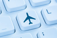 Reisen Urlaub online buchen Shopping E-Commerce einkaufen Internet blau Computer Tastatur