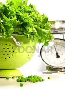 Fresh lettuce in strainer