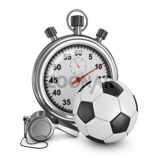 Soccer ball, referee whistle and stopwatch