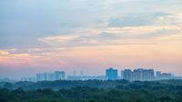 sunrise sky over Timiryazevskiy park in Moscow
