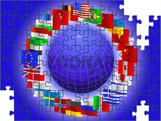 world in the form of a puzzle