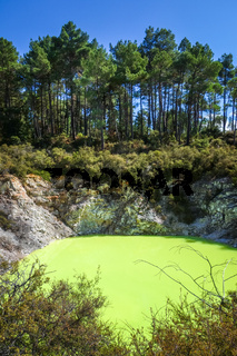 Green lake in Waiotapu, Rotorua, New Zealand