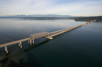 Hood Canal Bridge Puget Sound Shoreline Olympic Mountain Range